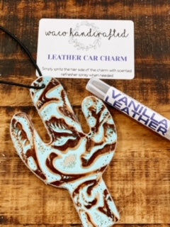 Turquoise Tooled Cactus Leather Car Charm