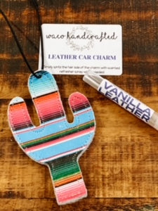 Serape Cactus Leather Car Charm