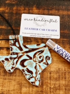 Turquoise Tooled Texas Leather Car Charm