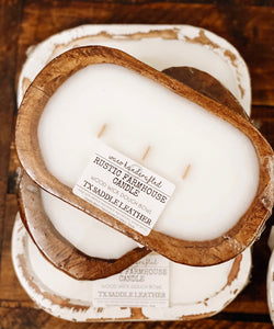 Rustic Farmhouse Leather Mini 3-Wick Dough Bowl Candle
