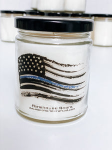 Police Flag Scented Candle | 9 oz or 16 oz | - Waco Handcrafted