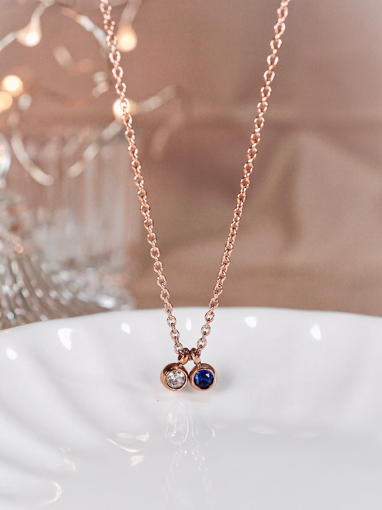 Duo Petite Birthstone Necklace — Rose Gold