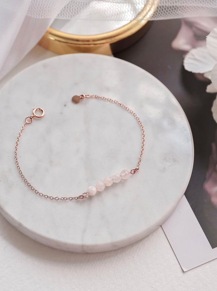 Raine Rose Quartz Bar Bracelet — Rose Gold Filled