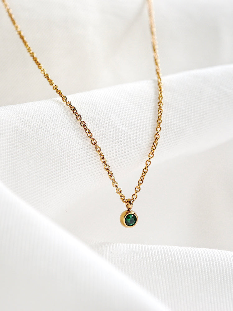 Petite Birthstone Necklace — Gold
