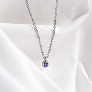Petite Birthstone Necklace — Silver