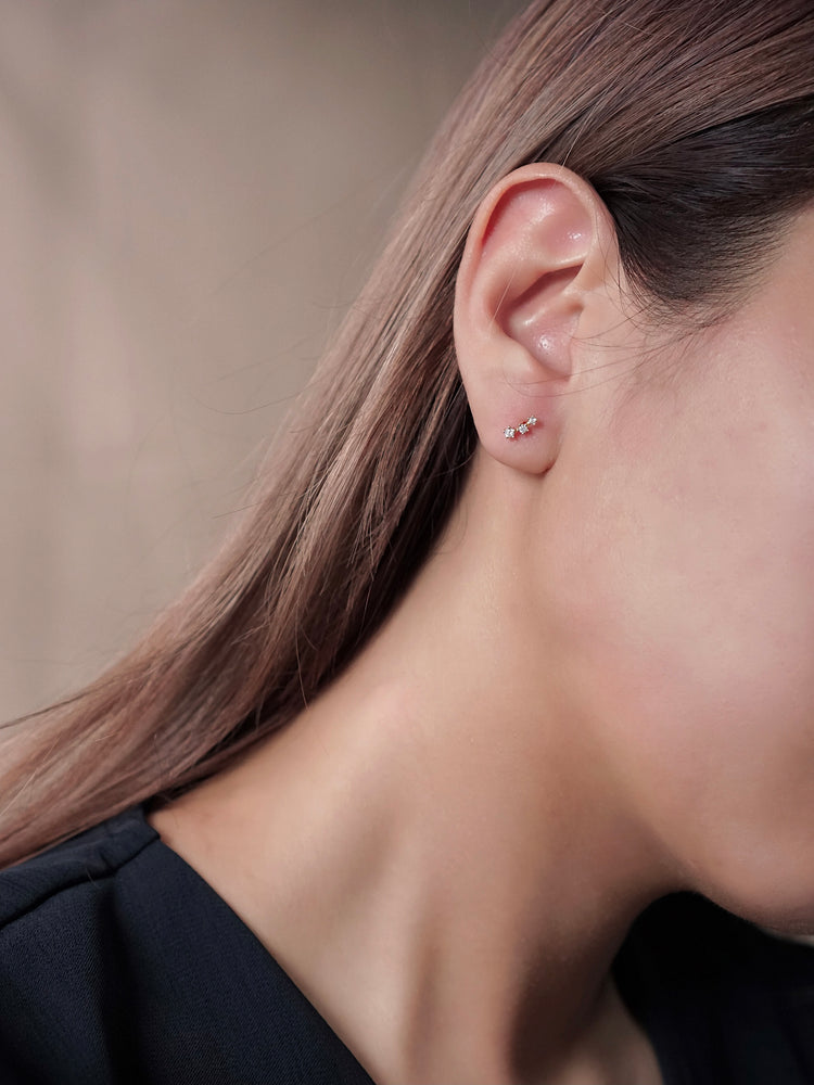 Load image into Gallery viewer, Triplet Star Stud Earring — Rose Gold