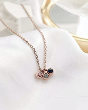 Trio Petite Birthstone Necklace — Rose Gold