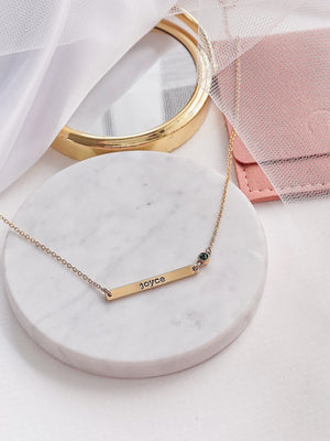Birthstone Horizontal Bar Necklace — Gold
