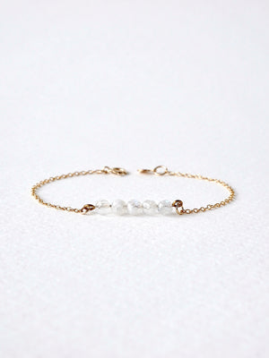 Load image into Gallery viewer, Lia Moonstone Bar Bracelet — Gold Filled