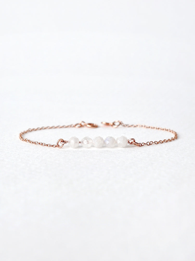 Lia Moonstone Bar Bracelet — Rose Gold Filled