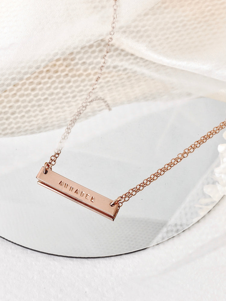 Juno Bar Necklace — Rose Gold Filled