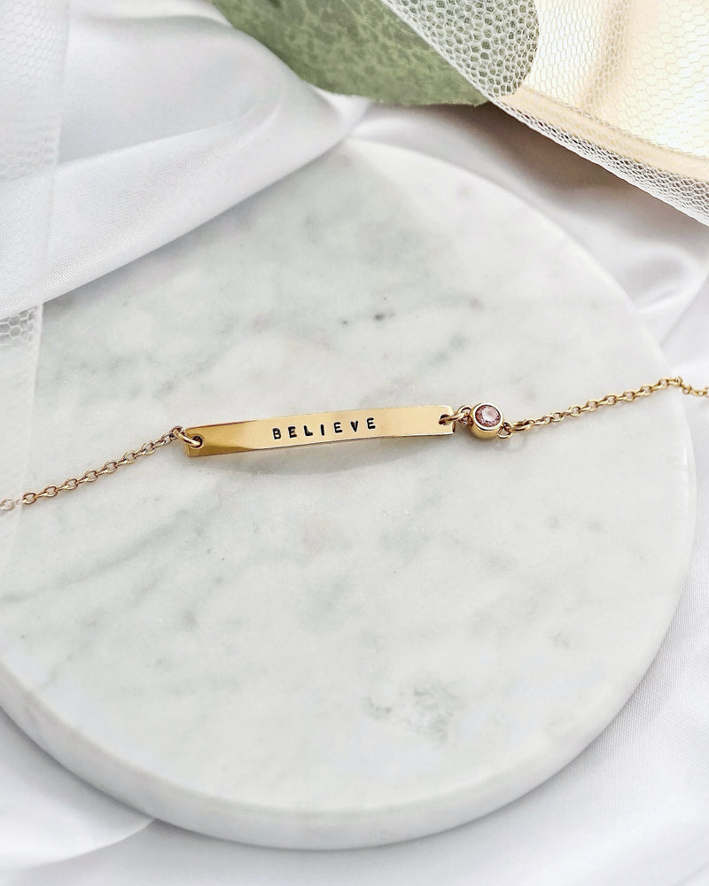 Load image into Gallery viewer, Birthstone Bar Bracelet — Gold
