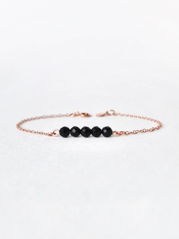 Maia Onyx  Bar Bracelet — Rose Gold Filled