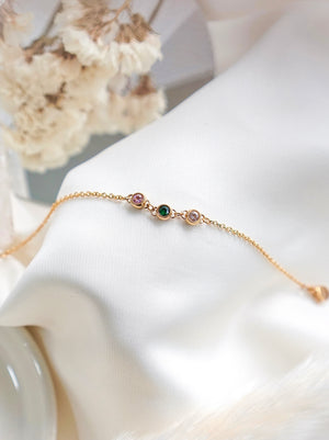 Load image into Gallery viewer, Trio Petite Birthstone Bracelet — Gold