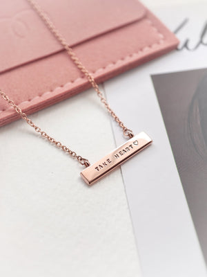 Jayme Bar Necklace — Rose Gold