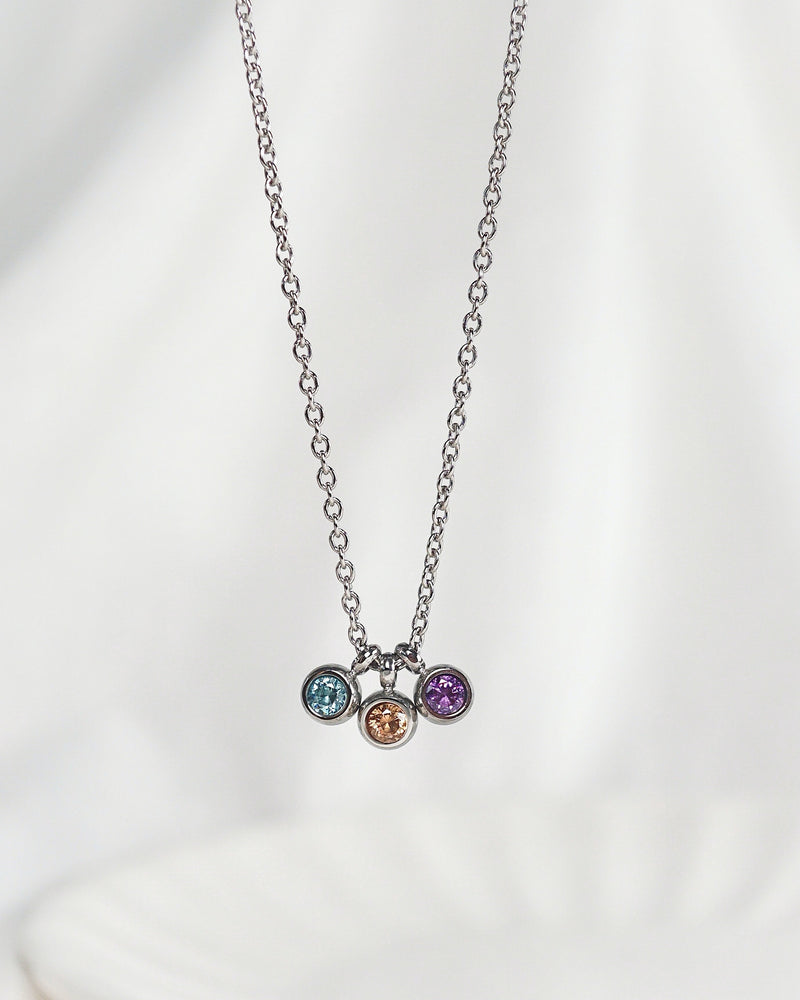 Load image into Gallery viewer, Trio Petite Birthstone Necklace — Silver