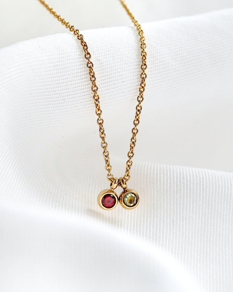 Duo Petite Birthstone Necklace — Gold