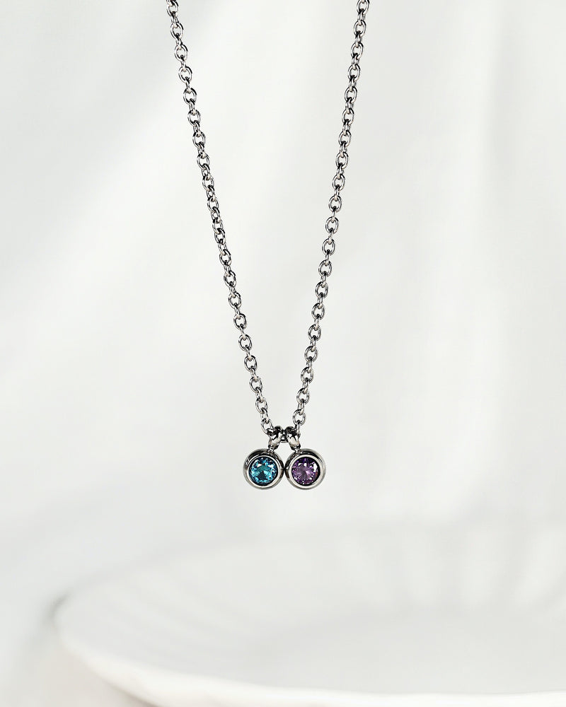 Duo Petite Birthstone Necklace — Silver