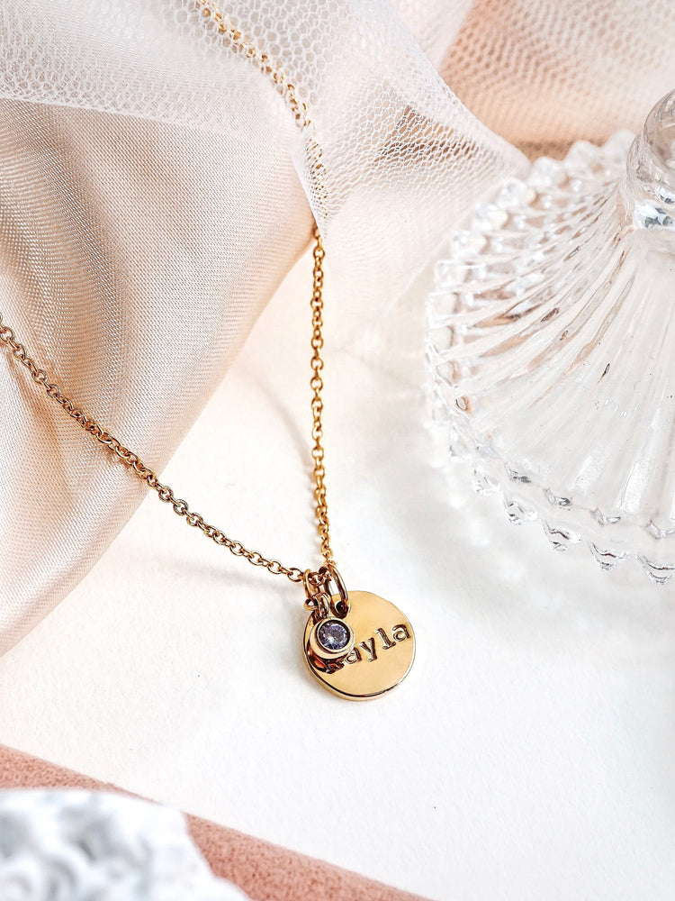 Rae Birthstone Pendant Necklace —  Gold