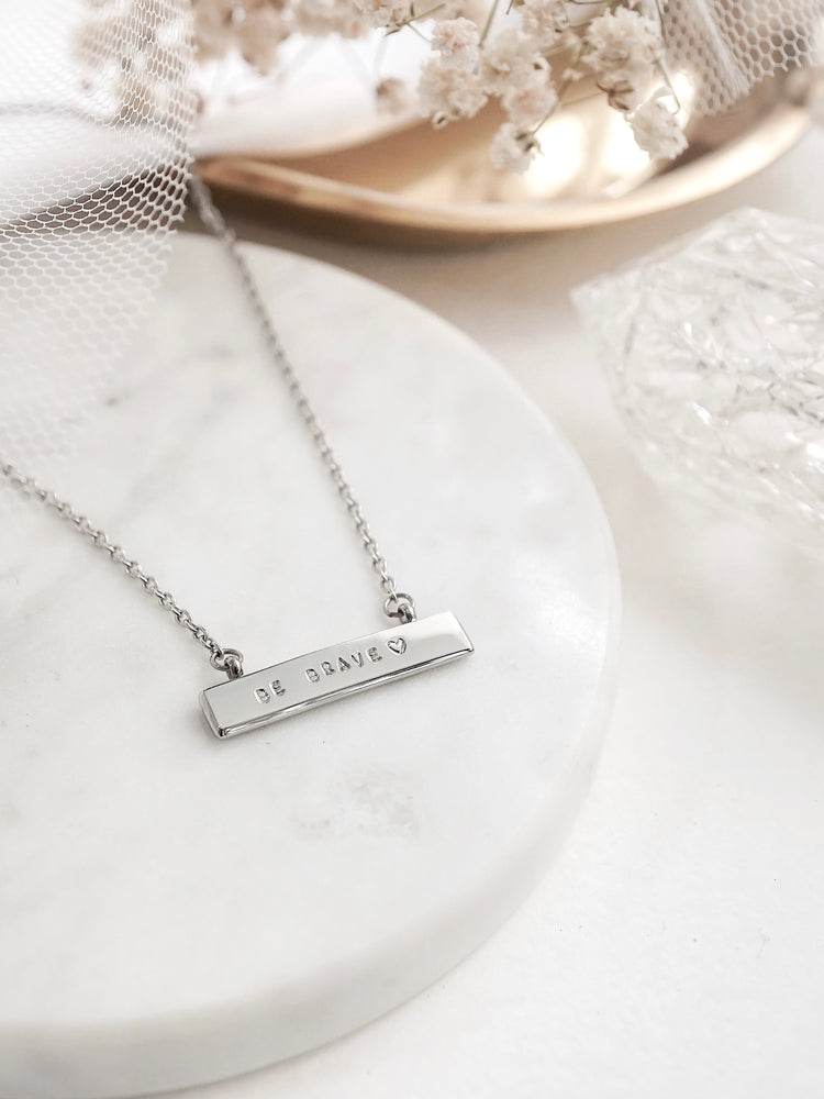 Jayme Bar Necklace — Silver