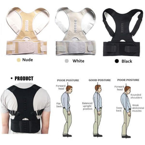 Bio-Magnetic Posture Corrective Therapy Back Brace For Men & Women Black | White | Beige Fully Adjustable Improves Posture and Provides Lumbar Support