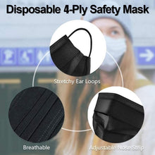 Load image into Gallery viewer, Disposable BLACK COLOR 4-Ply Face Mask 50 pcs