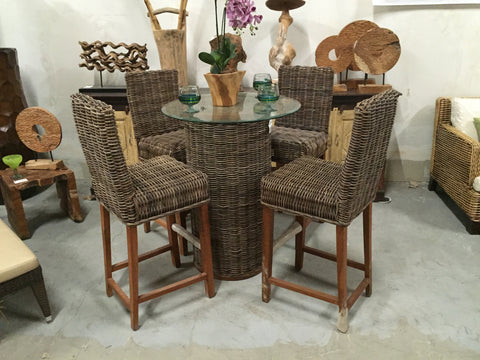 Natural Rattan Bar Set 6 Pcs