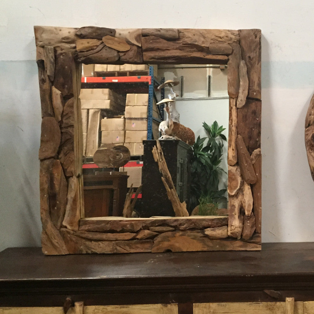 Drift Teak Mirror Square L