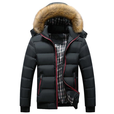 Thick Hooded Fur Collar Parka