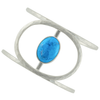 Sterling Silver Hammered Orbit Cuff with Semiprecious Stone