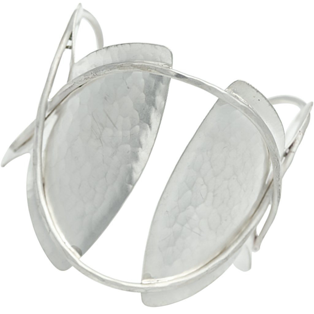 Sterling Silver Inverted Ovals with Wire Detail Cuff - Evelyn Knight ...