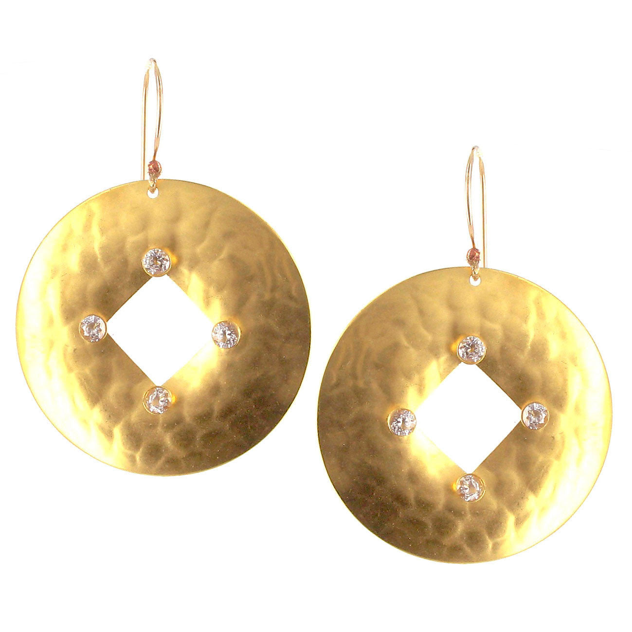 Gold Hammered Disc with Cutout Design and Cubic Zirconia on Gold ...