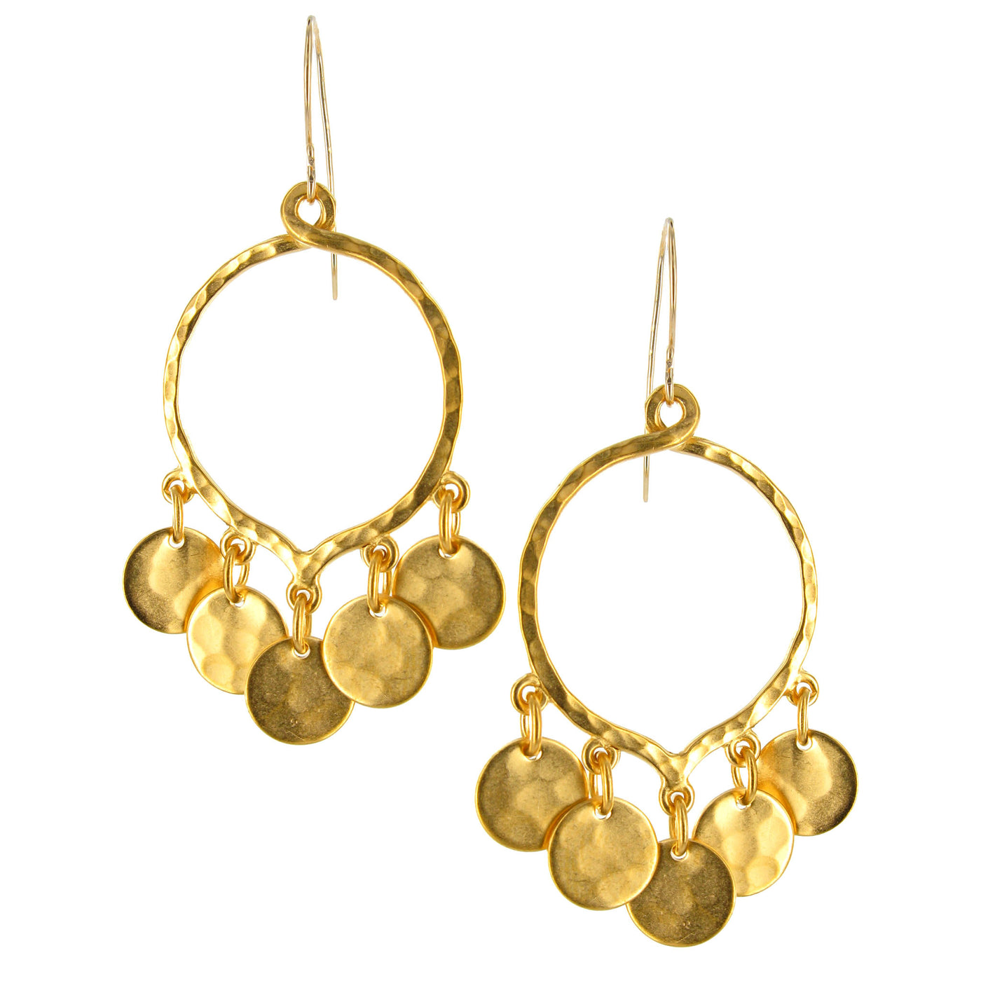 Gold Hammered Disc with Cubic Zirconia on Gold Filled Wire - Evelyn ...
