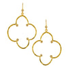 Gold Hammered Clover with Cubic Zirconia on Gold Earwire