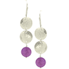 Sterling Silver Hammered Cascading Discs with Semiprecious Coin on Earwire