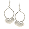 Sterling Silver Open Hoop with Hammered Discs on Wire Earrings