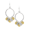 Sterling Silver Hoop with Silver and Gold Vermeil Discs on Earwire