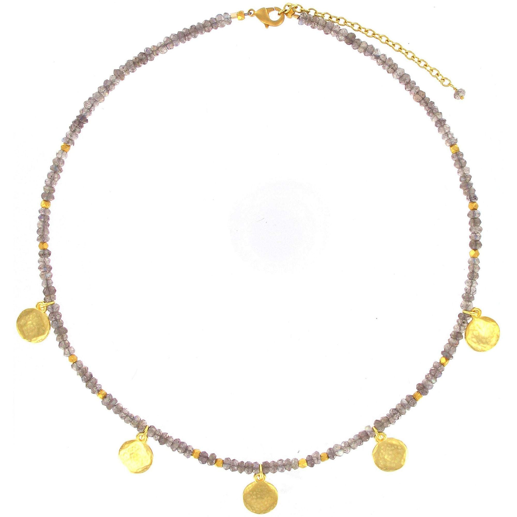 discs hammered necklace on products chain gold shape with coin semiprecious stones