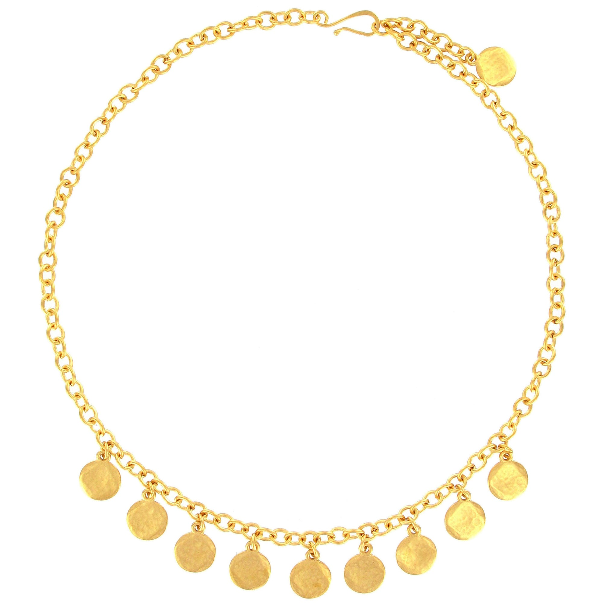 gold necklace products disc single anne sportun hammered bracelet