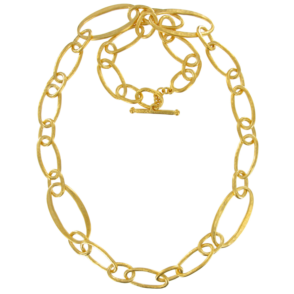 Gold Hammered Ovals Chunky Link Necklace
