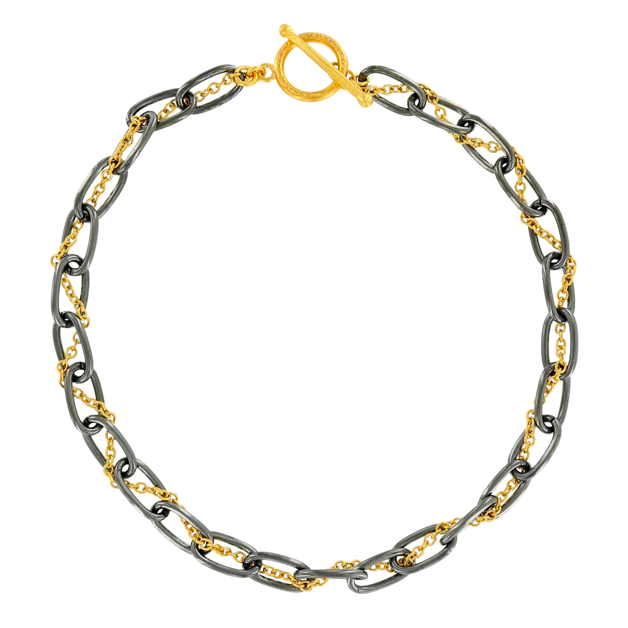 david silver and chains medium oval yurman necklace sterling gold link product yellow