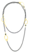 "Long Oxidized Double Chain With Gold Hammered Ovals and Pyrite 49"" Necklace"