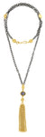 "Gold and Rose Cut Semi Precious Oval With Gold Tassel on Long Oxidized 28"" Chain Necklace"