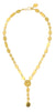 "Gold Hammered Squares and Circles Drop Pendant  19"" Necklace"