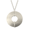 "Silver Hammered Disc with Wire Wrapped Detail on 24"" Chain"