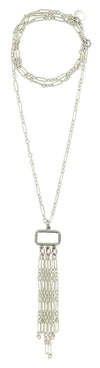 "Silver Hammered Rectangle With Chain Tassel on 28"" Long Chain Necklace"