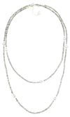 "Labradorite and Freshwater Pearl 26"" Long Opera Necklace With Sterling Silver Accents"