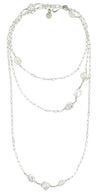 "Sterling Silver  48"" Chain With Freshwater Pearls Necklace"