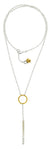 "Sterling Silver ""Stick"" With CZ's  and Gold Vermeil Ring on 27"" Chain Necklace"