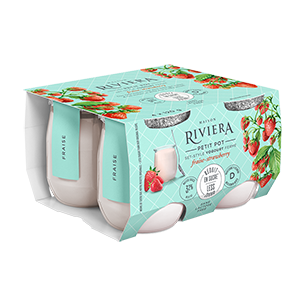 Riviera Strawberry Yogurt Reduced Sugar Lactose Free - 2.8% M.G. (4 x 120g)